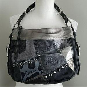 COACH Zoe Patchwork Hobo Black Gray bag 12901